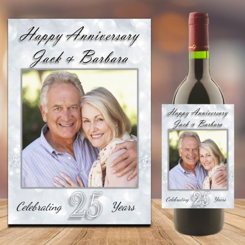 Personalised Silver 25th Wedding Anniversary PHOTO Wine / Champagne Bottle Label N90